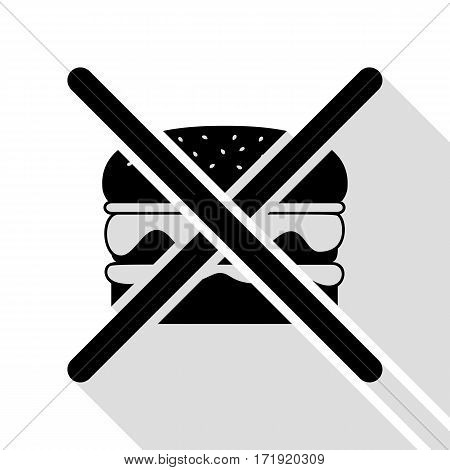 No burger sign. Black icon with flat style shadow path.