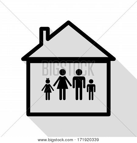 Family sign illustration. Black icon with flat style shadow path.