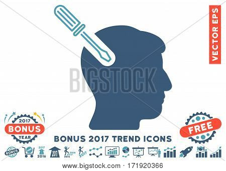 Cyan And Blue Head Surgery Screwdriver icon with bonus 2017 year trend pictograph collection. Vector illustration style is flat iconic bicolor symbols white background.