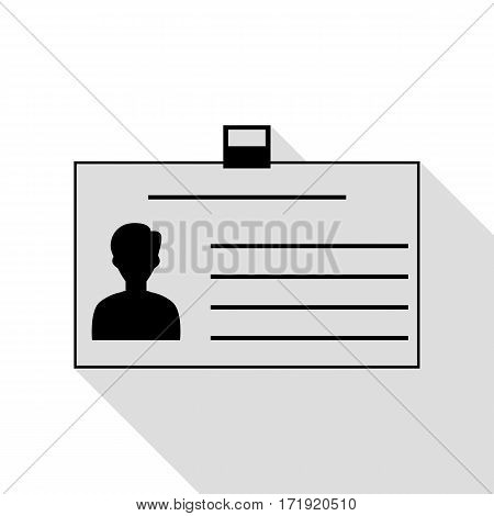 Identification card sign. Black icon with flat style shadow path.