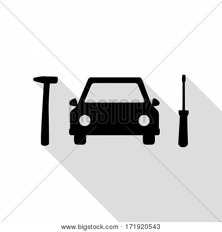 Car tire repair service sign. Black icon with flat style shadow path.
