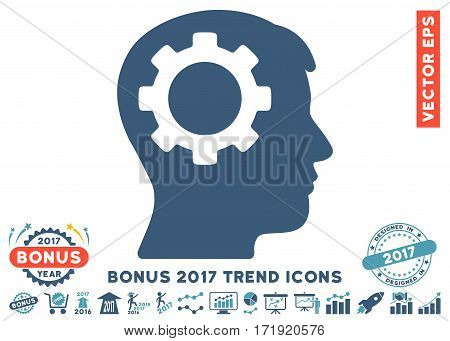 Cyan And Blue Intellect Gear pictograph with bonus 2017 year trend icon set. Vector illustration style is flat iconic bicolor symbols white background.