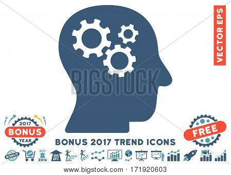 Cyan And Blue Intellect Gears pictograph with bonus 2017 year trend elements. Vector illustration style is flat iconic bicolor symbols white background.