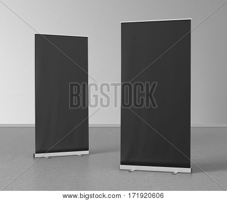 Blank Roll Up Banner Stands On Gray Floor