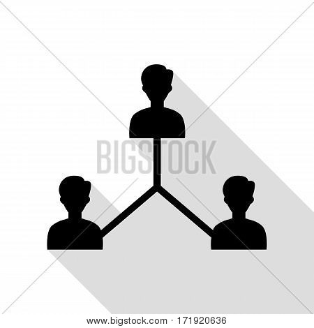 Social media marketing sign. Black icon with flat style shadow path.