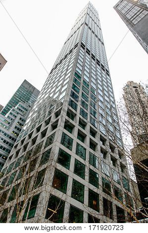 New York February 9 2017: A skyward view of the very tall newly constructed 234 Park Avenue condominium tower.