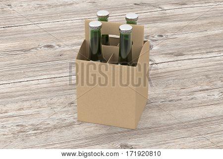 Blank Beer Packaging With Green Bottles