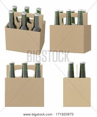 Set Of Six Bottles Cardboardblank Beer Packaging
