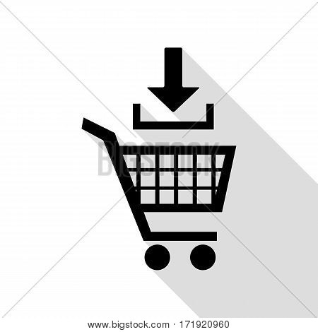 Add to Shopping cart sign. Black icon with flat style shadow path.