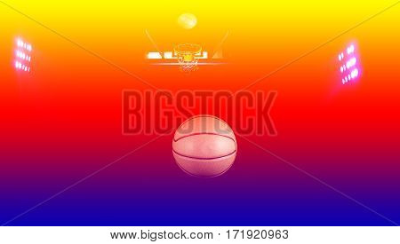 Basketball  court floor as a sports with floodlights