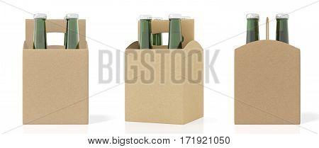 Set Of Four Bottles Cardboardblank Beer Packaging
