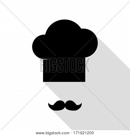Chef hat and moustache sign. Black icon with flat style shadow path.