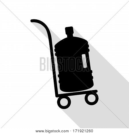 Plastic bottle silhouette with water. Big bottle of water on track. Black icon with flat style shadow path.