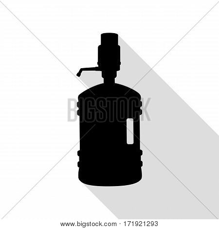 Plastic bottle silhouette with water and siphon. Black icon with flat style shadow path.