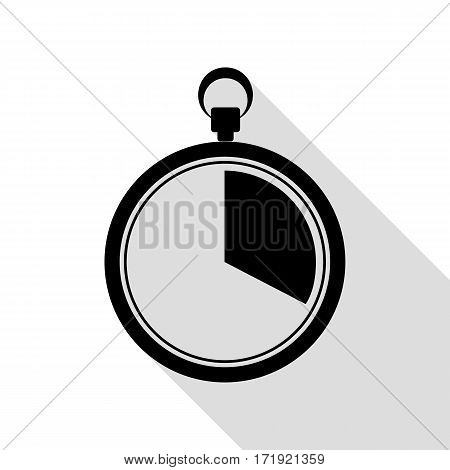 The 20 seconds, minutes stopwatch sign. Black icon with flat style shadow path.