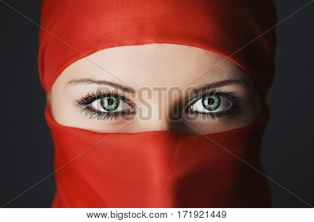Arabic Woman Eyes Close Up Portrait Studio Shot