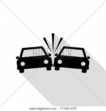 Crashed Cars sign. Black icon with flat style shadow path.