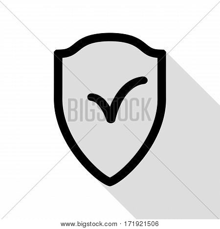 Shield sign as protection and insurance symbol Black icon with flat style shadow path.