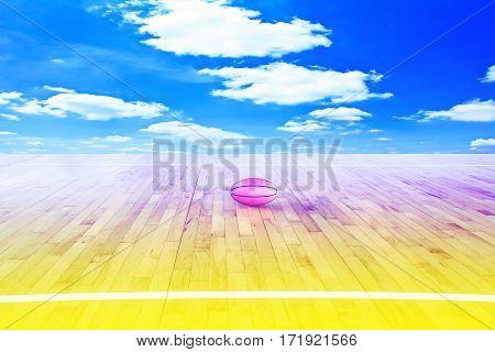 Basketball ball over floor with blue sky