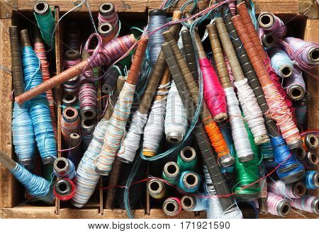 Colorful Spools With Threads