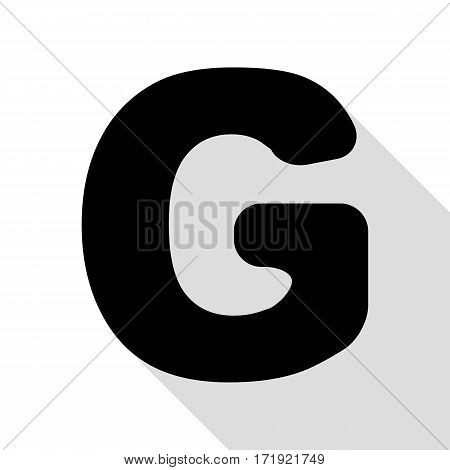 Letter G sign design template element. Black icon with flat style shadow path.