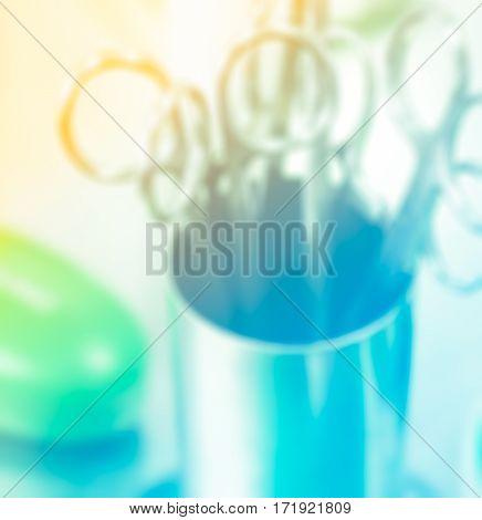 Blurred medical instruments for ENT doctor in hospital
