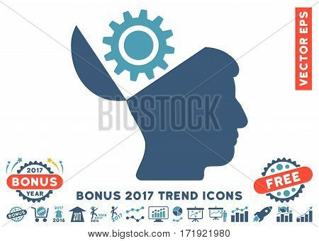 Cyan And Blue Open Head Gear pictograph with bonus 2017 year trend icon set. Vector illustration style is flat iconic bicolor symbols white background.
