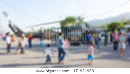 Blurred Background Military Show On Thai Children's Day