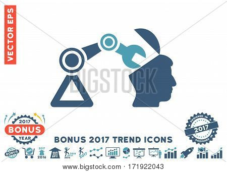 Cyan And Blue Open Head Surgery Manipulator icon with bonus 2017 year trend images. Vector illustration style is flat iconic bicolor symbols white background.