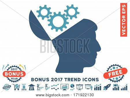 Cyan And Blue Open Mind Gears pictograph with bonus 2017 trend design elements. Vector illustration style is flat iconic bicolor symbols white background.