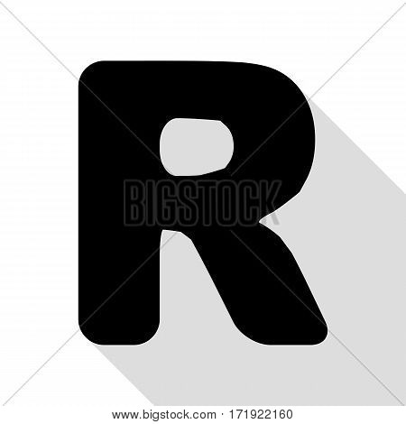 Letter R sign design template element. Black icon with flat style shadow path.