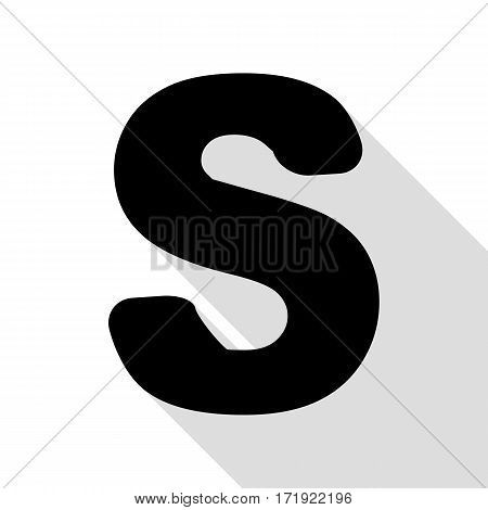 Letter S sign design template element. Black icon with flat style shadow path.