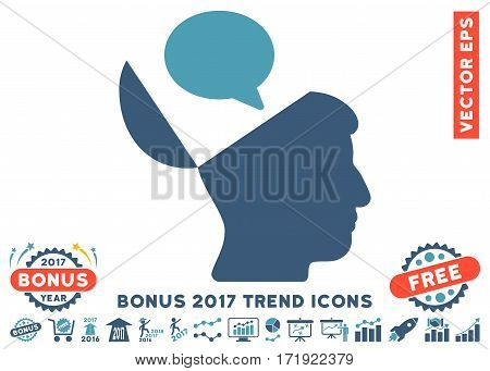 Cyan And Blue Open Mind Opinion icon with bonus 2017 trend images. Vector illustration style is flat iconic bicolor symbols white background.