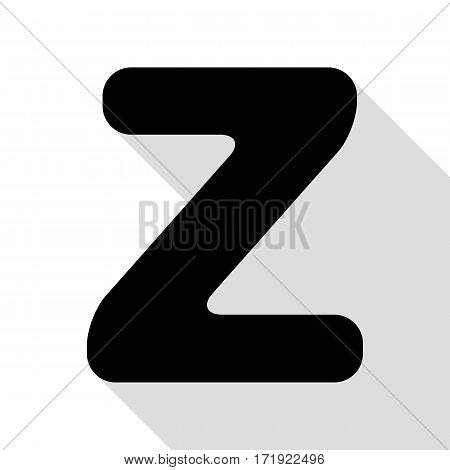 Letter Z sign design template element. Black icon with flat style shadow path.