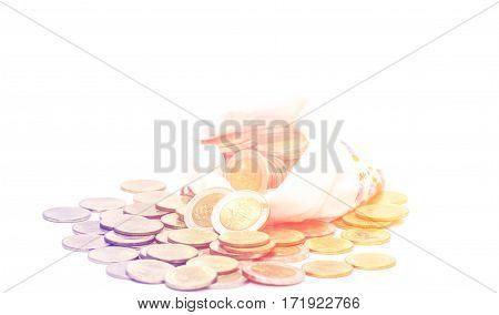 Close up saving increasing columns of coins