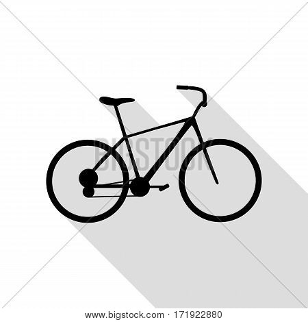 Bicycle, Bike sign. Black icon with flat style shadow path.