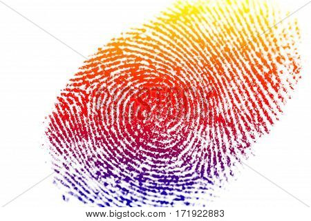 Abstract close up fingerprint with color filter