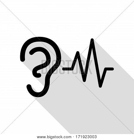 Ear hearing sound sign. Black icon with flat style shadow path.