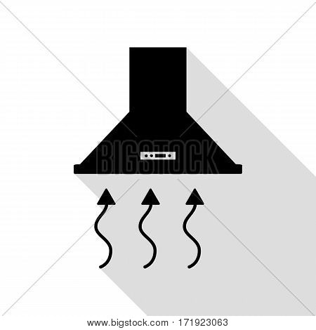 Exhaust hood. Range hood. Kitchen ventilation sign. Black icon with flat style shadow path.