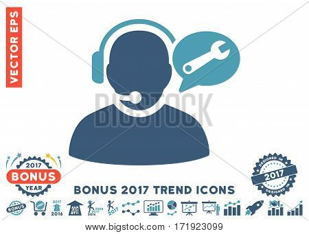 Cyan And Blue Operator Service Message icon with bonus 2017 year trend pictograms. Vector illustration style is flat iconic bicolor symbols white background.