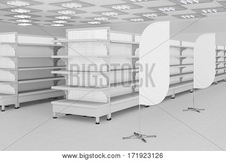 Supermarket Interior With Empty Shelves