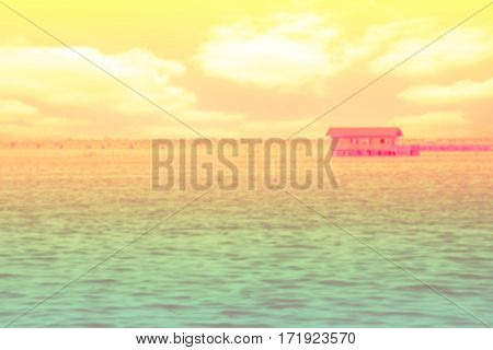 Image of fishing huts in the sea,Thailand