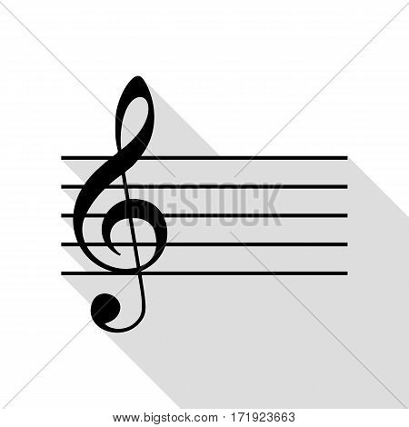 Music violin clef sign. G-clef. Black icon with flat style shadow path.