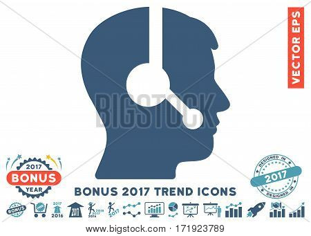 Cyan And Blue Operator pictogram with bonus 2017 trend pictograms. Vector illustration style is flat iconic bicolor symbols white background.