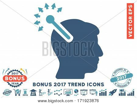 Cyan And Blue Optical Neural Interface pictogram with bonus 2017 trend elements. Vector illustration style is flat iconic bicolor symbols white background.