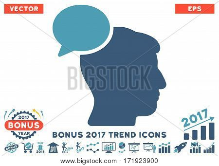 Cyan And Blue Person Idea icon with bonus 2017 trend pictures. Vector illustration style is flat iconic bicolor symbols white background.