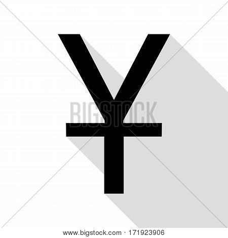 Chinese Yuan sign. Black icon with flat style shadow path.