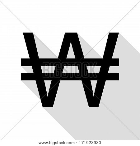 Won sign. Black icon with flat style shadow path.