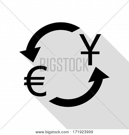 Currency exchange sign. Dollar and Euro. Black icon with flat style shadow path.