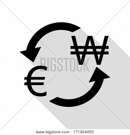 Currency exchange sign. Euro and South Korea Won. Black icon with flat style shadow path.
